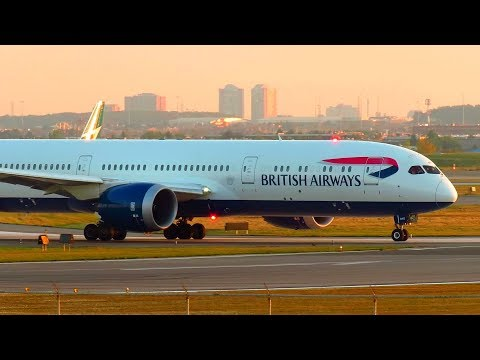 British Airways Boeing 787-9 SUNSET Takeoff from Toronto Pearson Intl. Airport YYZ | G-ZBKD