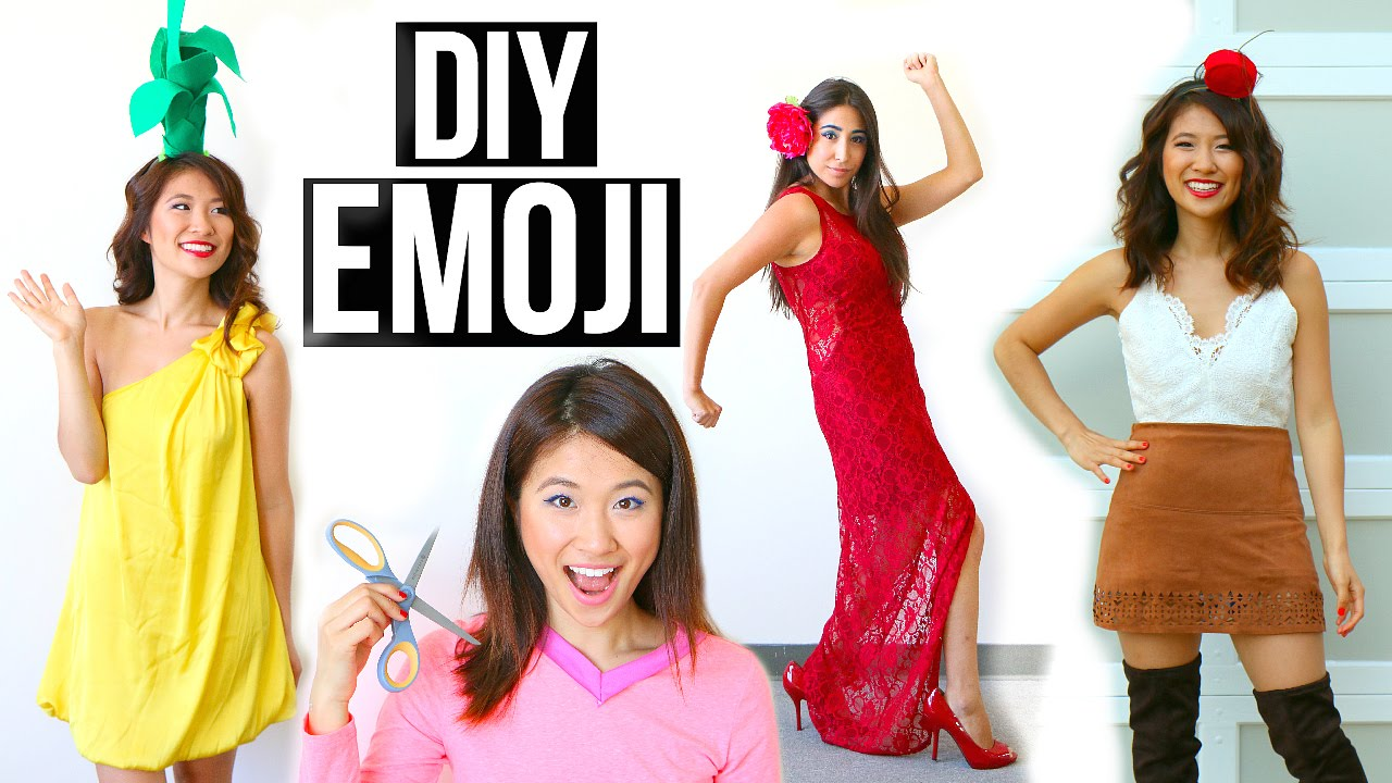 sc 1 st  YouTube & 5 DIY Halloween Costumes Ideas for Girls! Emoji Ideas! - YouTube