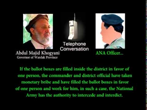 Telephone conversation between Commander..? and Abdul Majid Khogyani Governor of Wardak province