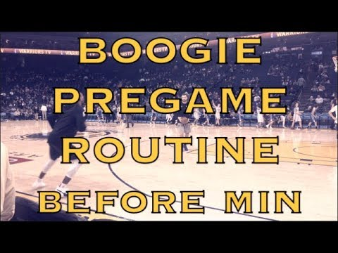 "DeMarcus ""Boogie"" Cousins pregame routine before Warriors (18-9) vs Minnesota Timberwolves at Oracle"