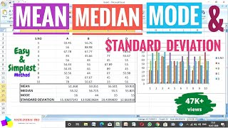 How To Find Mean,Median, M๐de and Standard Deviation In Excel || Also Showing Statistical Chart.