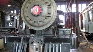 California Gold Country Sierra Railway Steam Locomotive No.3 Detail in Roundhouse Steaming
