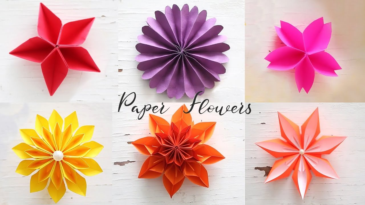 6 Easy Paper Flowers Flower Making Diy
