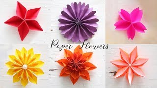 6 Easy Paper Flowers | Flower Making | DIY