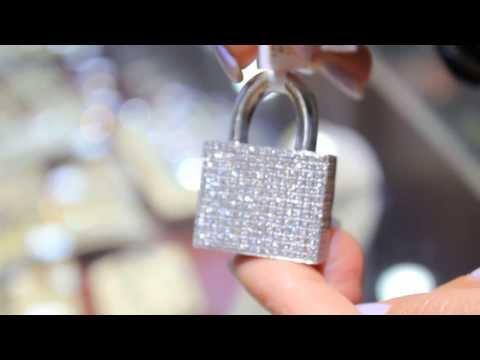 Men's 14K White Solid Gold Diamond Lock Pendant 6.46 Ctw