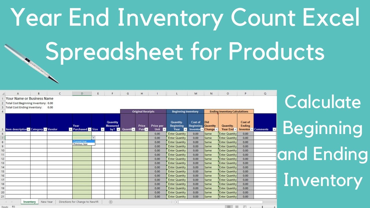 year end inventory count excel spreadsheet for products