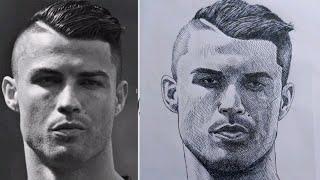 Cristiano Ronaldo Portrait Pen Drawing | How To Draw Step By Step Cristiano Ronaldo Portrait Easily