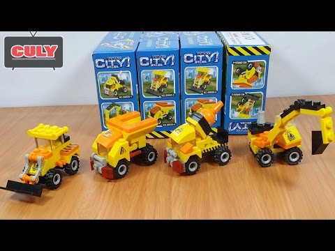 4 Bộ Lego xe cẩu , xe chở cát, xe xúc cát ủi, xe bồn , xe công trình brick toy truck car
