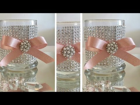 DIY | BLING CANDLE HOLDER DECOR | BLING AND GLAM | DOLLAR TREE DIY | INEXPENSIVE DIY
