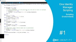 One Identity Manager   Scripting #1   The API - Scripting Environments