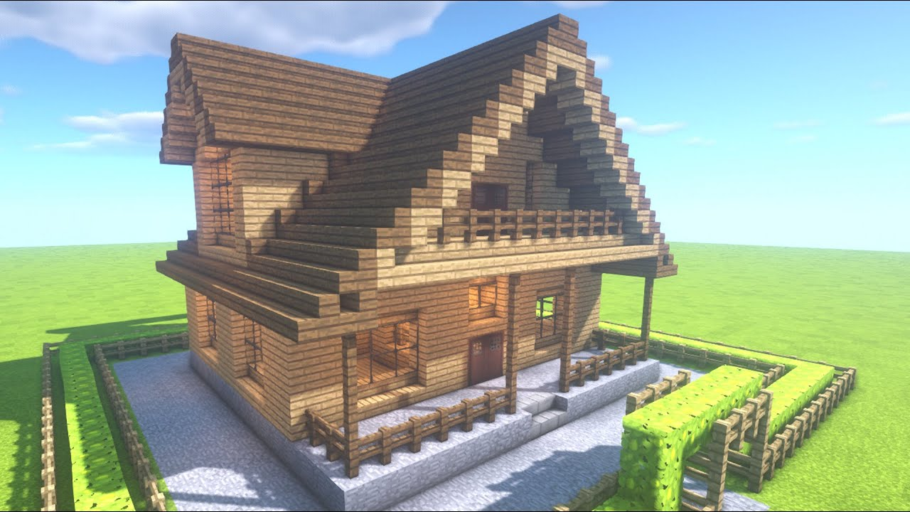 マイクラ 家城作り方 木造お洒落な家 Youtube