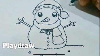 สอนวาดตุ๊กตาหิมะน่ารักๆ snowman by Playdraw