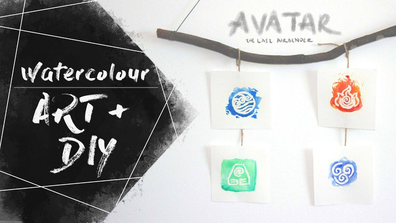 The Four Elements Of Atla Watercolour Art Diy Display Youtube