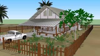 บ้านหลังคาจั่ว ยกพื้น    ( No. 007 )    Sketchup by :  i.  pakdee