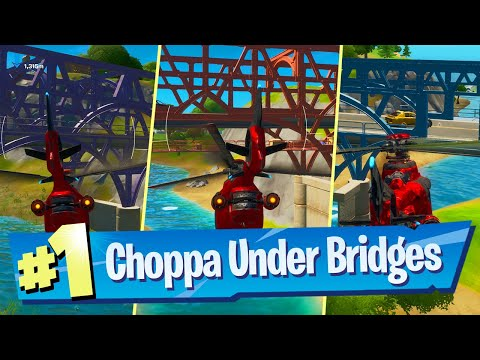 Fly A Choppa Under Purple, Red And Blue Steel Bridges - Fortnite Battle Royale