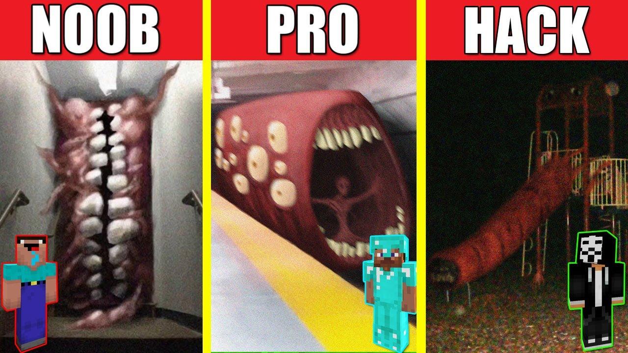 SMILE ROOM VS TRAIN EATER VS EXTRA SLIDE HOUSE BUILD CHALLENGE - NOOB vs PRO vs HACKER / Minecraft