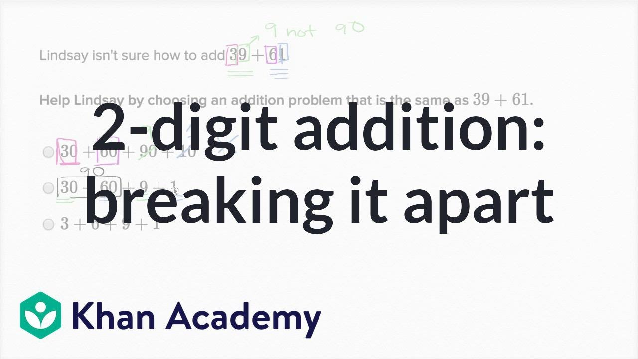 medium resolution of Breaking apart 2-digit addition problems   Addition and subtraction   1st  grade   Khan Academy - YouTube