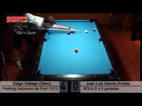 Rankling Asturiano de Billar 2012/13; Diego Gallego vs Juan Luis García