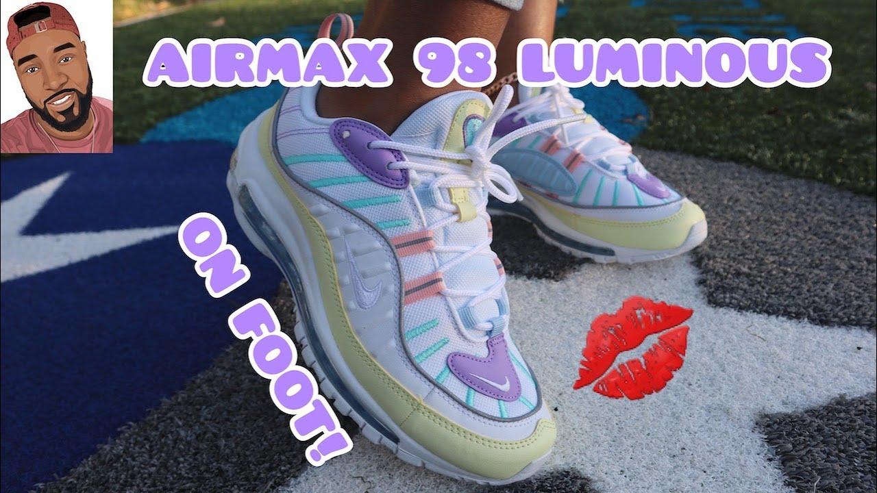 Air Max 98 Luminous Green On Foot Women Youtube