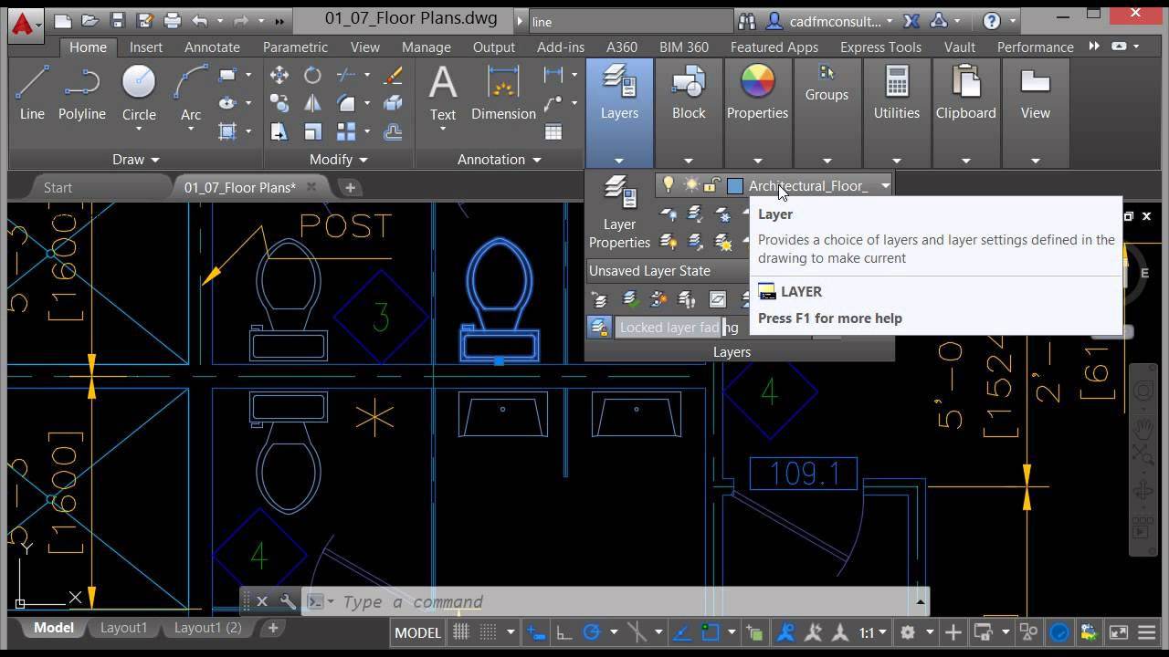 Layers in AutoCAD 2016