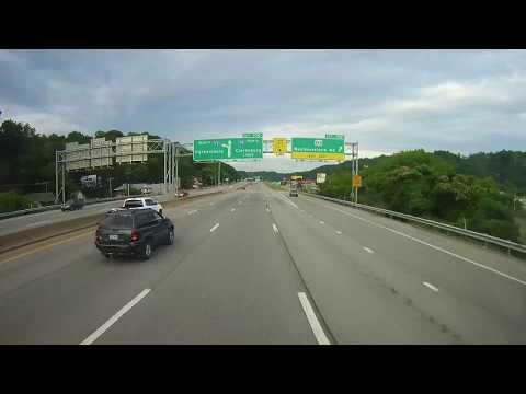 Driving on Interstate 77 through Charleston, West Virginia