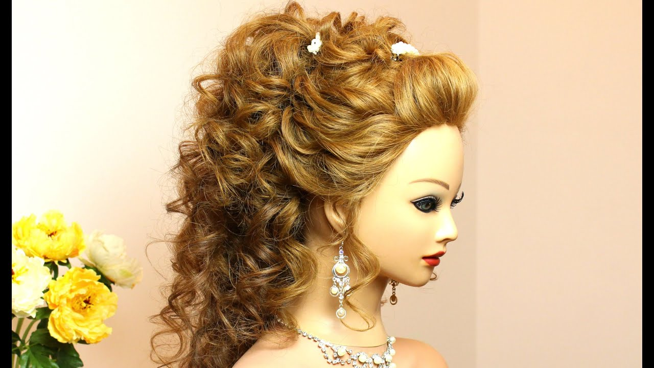 Curly wedding hairstyle for long hair tutorial - YouTube