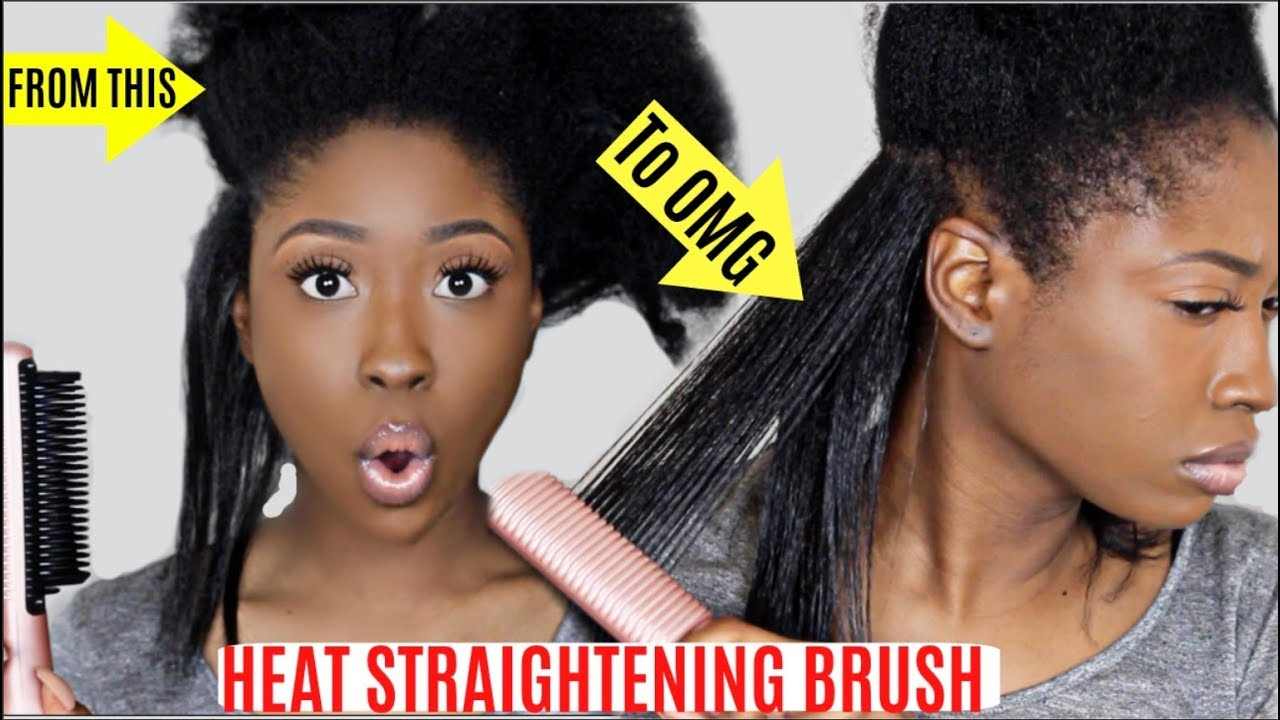 Omg Fast Hair Brush Straightener Comb On Natural Thick Curly Hair Review Youtube