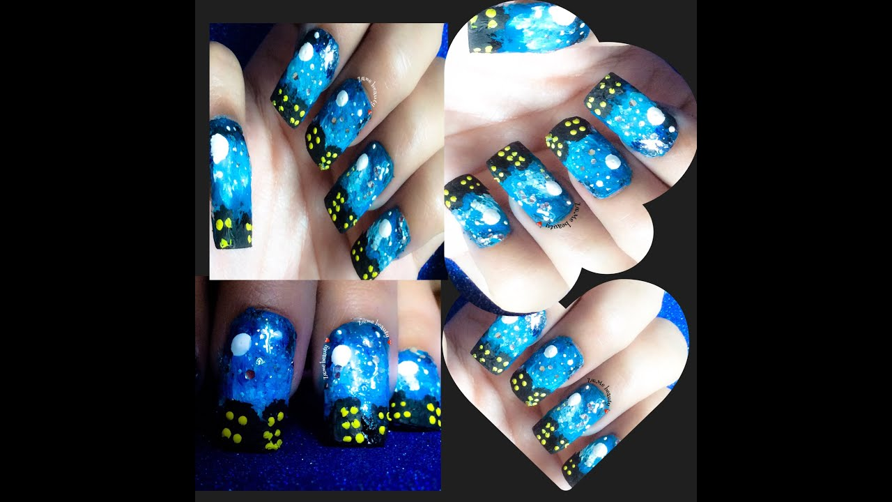 Nail Art : Beautiful Night Sky with Stars & Moon (using paints ...