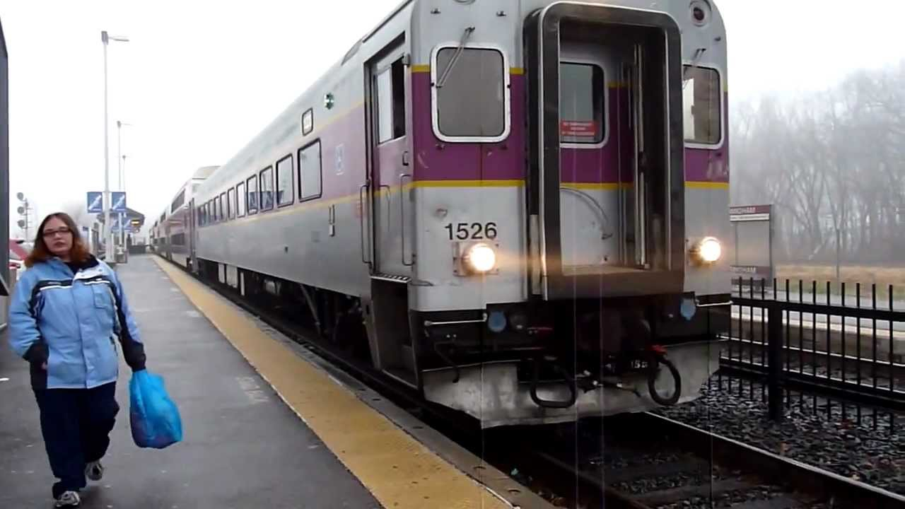 MBTA Commuter Rail trains at Framingham, MA - YouTube