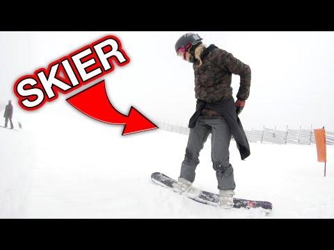 SKIER TRIES SNOWBOARDING!
