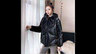 Женская блестящая парка lingwave свободная короткая стеганая куртка в корейском стиле с капюшоном