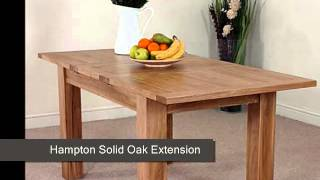 Hampton Solid Oak Extension Dining Table & 4 Black Montana Leather Chairs