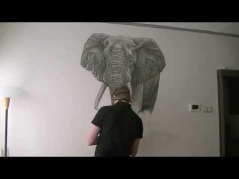 Olifant muurschildering in de woonkamer... - YouTube