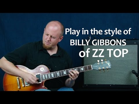 Play lead guitar solo in the style of Billy Gibbons from ZZ Top blues rock licks jamming lesson