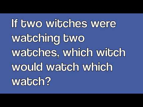 Two Witches- Tongue Twister - YouTube