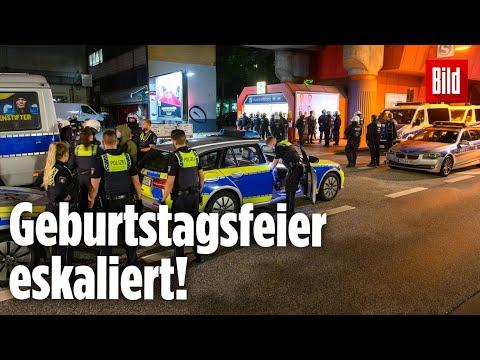 Ungeladene Party-Gäste zerstören ein Auto und schmeißen Flaschen auf Polizisten   Hamburg