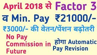 April 2018 से Min. Pay ₹21000/- & Factor 3.0, India news से आयी Latest News