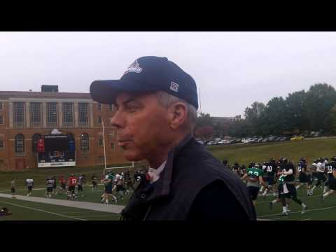 Samford head coach Pat Sullivan at practice, Oct. 30, 2013