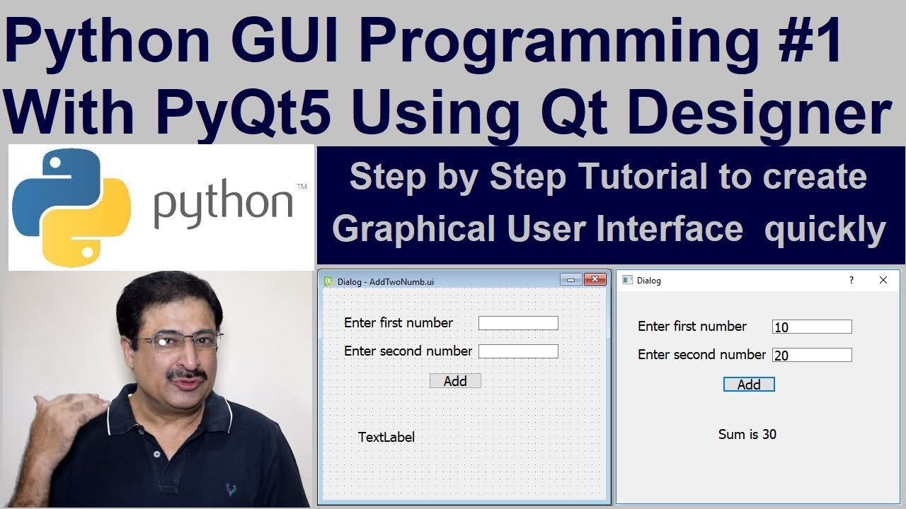 Python GUI Programming Tutorial #1 With PyQt5 using Qt Designer