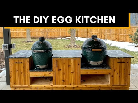 Green Egg Outdoor Kitchen Build - Both Large and XL Eggs!