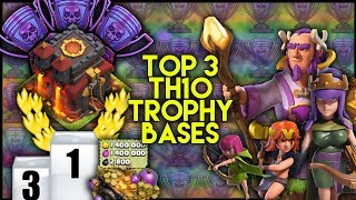 TOP 3 INSANE TOWN HALL 10 [TH10] Trophy Base Builds! W/ Replays   BEST TH10 BASES - Clash Of Clans