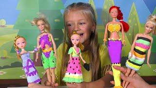 ПЛАТЬЯ из ПЛАСТИЛИНА для КУКОЛ своими руками! Dress for Barbies Dolls Creative Fun for Kids