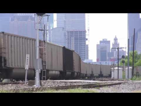 Empty BNSF Coal Train In Downtown Houston, TX