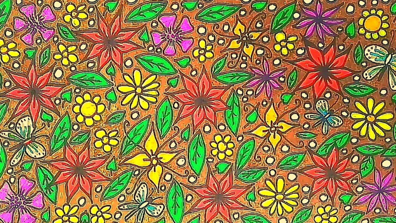 Cara Mudah Menggambar Batik Motif Bunga Dibuku Gambar Youtube