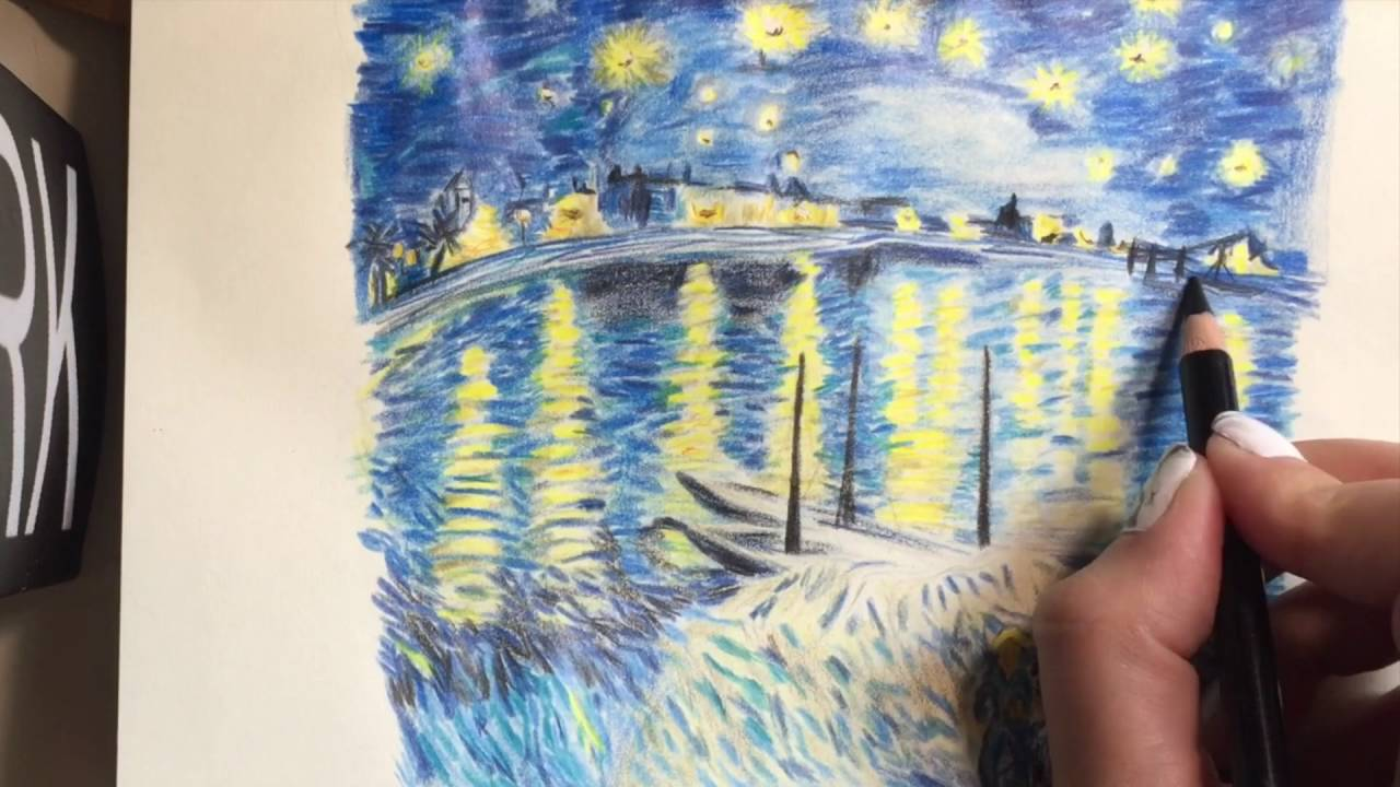 Van Gogh's The Starry Night Over The Rhone drawing - YouTube