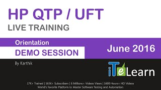 hp qtp uft live training free orientation demo session by karthik