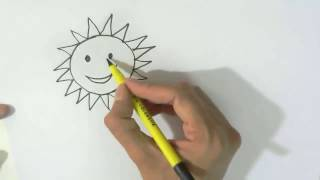 How to draw Cartoon Sun and Moon  - in easy steps for children, kids, beginners