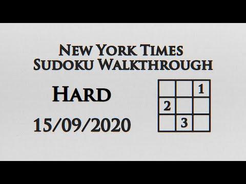 New York Times Hard Sudoku Walkthrough - 15/09/2020