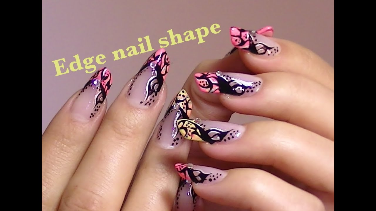 Abstract Tattoo Inspired Nail Art Video Tutorial Edge Nails
