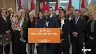 Jagmeet Singh speaks with reporters in Vancouver on eve of the election